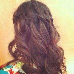 Waterfall braid.  Bridesmaid hair.  Wedding hair.