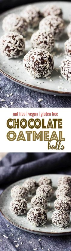 No Bake Chocolate Oatmeal Balls - Nut free, dairy free and gluten free! The perfect sweet bite to go with your evening cup of tea! #nobake #chocolate #dates #vegan via @nutrimeetschef