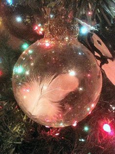 This is my Guardian Angel ornament I made for all my special people for Christmas one year. OMG it was receive so emotionally...it made us cry! It is a so simple and easy. Just a clear glass ball with a white feather in it. I then hot glued a nice golden braid arount the hanger to dress it up a bit. Then I made little glitter embellish cards to attach with this poem. ENJOY! EVERYONE WILL LOVE IT!