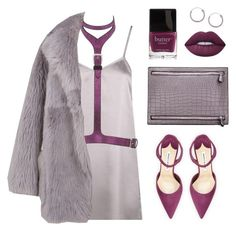 """""""Lilac babe"""" by baludna ❤ liked on Polyvore featuring Boohoo, Giuseppe Zanotti, TIBI, Lime Crime, Butter London, Manolo Blahnik and Topshop"""
