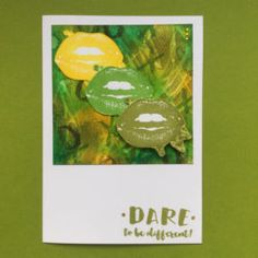 Dare to be different! Visible Image stamps on a funky handmade CAS card using unexpected colours in distress stains and distress inks by Sharon Traynor Bad Day Quotes, 2017 Inspiration, Image Stamp, Craft Desk, Positive Messages, Distress Ink, Lip Colors, Colours, Different
