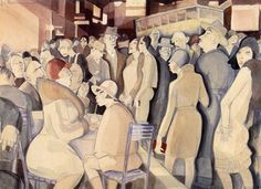 Jeanne Mammen  (1890-1976), Berlin Street Scene. Circa 1929. Watercolor and pencil.