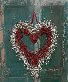 Heart Wreath made with grapevine wreath, faux berries and ribbon:  Ever Blooming Original, Etsy