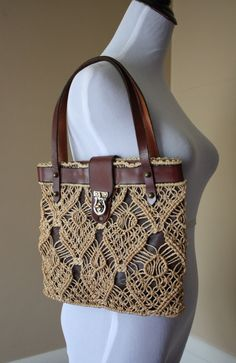 macrame over leather 1970s Brown Leather and Macrame Handbag by SecondSparrowVintage