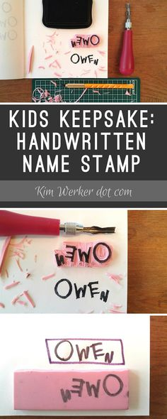 How to make a stamp of your kid's name in their own handwriting! Tutorial at http://kimwerker.com/blog