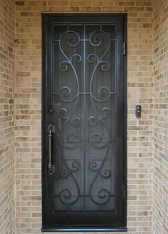 Customized wrought iron security doors make a strong and secure entrance for your home and create some of the most inviting entryways. Main Entrance Door Design, Door Gate Design, Front Door Design, Wrought Iron Security Doors, Wrought Iron Doors, Security Gates, Metal Doors, Grill Gate Design, Door Grill