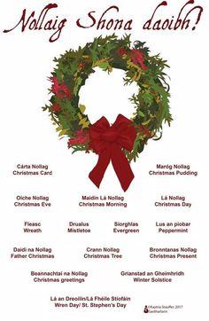 Nollaig Shona daoibh Irish Gaelic Language, Gaelic Words, Irish Poems, Irish Quotes, Celtic Alphabet, Irish Prayer, Irish Christmas, Christmas Crafts, Xmas