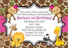 1st Birthday Girl Invitation Monkey  Jungle by OneWhimsyChick