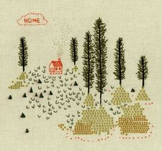 lovely embroidery piece with cross-stich by Becca Stadtlander. Embroidery Applique, Cross Stitch Embroidery, Embroidery Patterns, Embroidery Sampler, Art Tribal, Art Textile, Cross Stitching, Fiber Art, Needlework