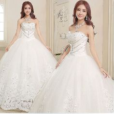 New 2014 Sexy Romantic Fashionable Plus Size Satin Crystals Wedding Dress Luxury Princess Elegant Bridal Ball Gown Casamento