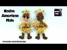 Rainbow Loom (Thanksgiving) Native American Male Action Figure/Charm - © Izzalicious Designs 2014