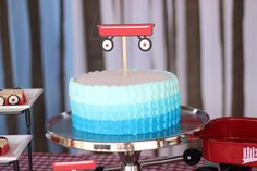Blue Ombre Red Wagon Cake