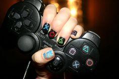 expressed gaming love - PS2 controler nail art by PandA-in-Wonderland.deviantart.com on @deviantART