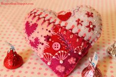 I ❤ crazy quilting, beading & embroidery . Crazy Quilt Heart- Just… Embroidery Hearts, Beaded Embroidery, Valentine Day Crafts, Be My Valentine, Crazy Patchwork, Crazy Quilting, Art Quilting, Crazy Heart, Fabric Hearts