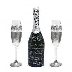 Handpaited 25 year wedding anniversary~cadou pictat set sampanie martini cadou nunta argint. Flute, Martini, Wedding Anniversary, Vodka Bottle, Champagne, Tableware, Handmade, Party, Crystal