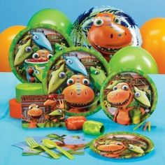 Dinosaur Train - Standard Pack Party Accessory for 8 by Hallmark. $25.20. Great Gift Idea.. Design is stylish and innovative. Satisfaction Ensured.. Manufactured to the Highest Quality Available.. Standard Pack for 8 includes: (8) invitations, dinner plates, dessert plates, cups, forks, spoons, (16) napkins, solid-color tablecover, foil balloon, (12) balloons (2 colors), curling ribbon (2 colors), crepe paper rolls (2 colors), and cake candles.