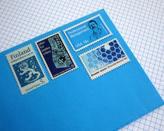 Vintage unused  Blue on Blue  postage stamps to by packandpost, $6.00