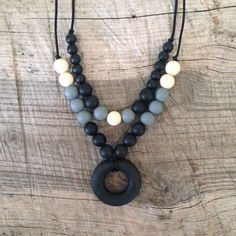 Two Tier Black Gray and Cream Silicone Teething by NomNomNecklaces