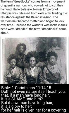 Black Hebrew men are NOT suppose to have long Hair like dreads. Thats why their hair grows up NOT down. Does not nature itself teach you THIS??? Remember the Hail(e) Selassie movement is a LIE of Satan IT has NOTHING to do with black Christ Yashiya (Savior) OR the Bible. WAKE UP!!! #HebrewIsraelites spreading TRUTH #ISRAELisBLACK