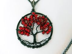 Pomegranate Seeds Tree of Life Black Frame Petite Necklace