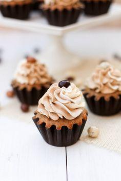 Vanilla latte cupcakes. Espresso flavored caked, Swiss meringue buttercream topping with espresso powder.
