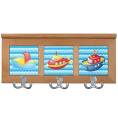 Kids Boats and Submarines Coat Rack This would be a cute towel rack in the bathroom.