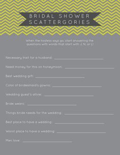 Bridal Shower Games // Chevron Designs // wedding, game, scattergories, Bridal Shower Scattergories // guests fill out wedding-related categories using the bride's new initials! {For customization info, visit http://betsygettis.blogspot.com/p/design.html}