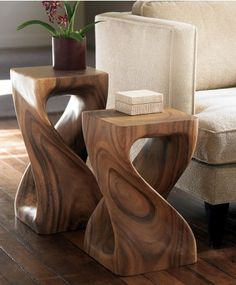 #InspiredGreenLiving - A side table, a stool, a display pedestal and beyond.  Carved from a single piece of lustrous monkey pod wood.