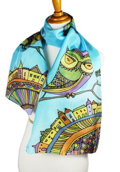 Silk Scarf Owls in The City Hand Painted Silk Scarf Illustration Owl Character Graphics Silk Scarf Owles Lover Accessory Silk Scarf Blue