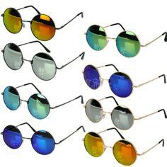 Vintage Style Unisex Sunglasses Colorful Round Frame Restoring Mirror