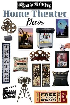 Home Theater Decor Home theater room decor A Vertical Wood Theater Sign, movie reel accent table, pillows, now showing sign and much more. Movie Theater Decor, Home Theater Setup, Home Theater Seating, Home Theater Design, Home Cinema Room, Home Theater Rooms, Movie Themed Rooms, Movie Rooms, Painel Home