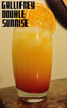 Doctor Who Mocktails by EXPBarOnline Gallifrey Double Sunrise: Ingredients: 1 oz Pineapple Juice 1 oz Lime Juice Orange Juice Grenadine Directions: Fill a tall glass to the brim with ice and pour in. Mixed Drinks, Fun Drinks, Yummy Drinks, Beverages, Doctor Who Party, Doctor Who Wedding, Alcoholic Jungle Juice, Non Alcoholic, Dr Who