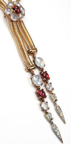 Trifari 'Alfred Philippe' Gold Gaspipes Ruby and Moonstone Cabochons Cluster and Double Pendants Necklace