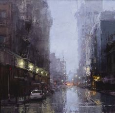 Jeremy Mann (American, b. Cleveland, OH, USA) - Evening Rains Downtown Nocturne Paintings: Oil on Panel Urban Painting, City Painting, Oil Painting Abstract, Artist Painting, Ville New York, Art Aquarelle, Oil Pastel Art, Abstract City, Black And White Wall Art