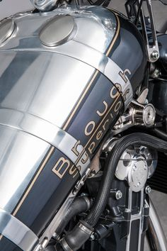 The brand is motorcycle history and back in the day they called themselves the Rolls Royce of motorcycles. British Motorcycles, Vintage Motorcycles, Custom Motorcycles, Custom Bikes, Motorcycle Tank, Motorcycle Design, Motorcycle Style, Bike Design, Vintage Cycles