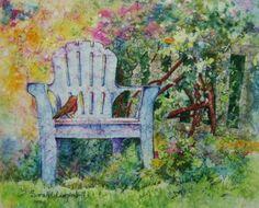 Robin in my Garden watercolor batik on ginwashi rice paper by Sarah L  Luginbill Fine Art