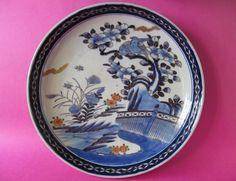 Japanese Ceramic Dish Handmade Handpainted Bonsai Birds w Gold Imari Accents