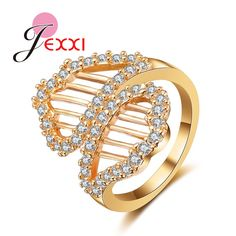 JEXXI Hot Sale Eternal Love Double CZ Rhinestone Circle Style Fashion Brand Jewelry Women  Gold Ring For Wedding Anillos
