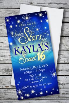 Under the Stars Sweet 16 birthday party 4 x 8 Invitation with Envelopes! Only $1.33 each for 100. FREE SHIPPING! FREE PERSONALIZATION! Order at http://www.youprintcards.com/go/?p=471
