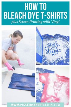 Learn how to tie dye shirts using bleach. Then, personalize your shirt with DIY screen printing using your Cricut or Silhouette vinyl. Bleach Spray Shirt, Bleach Tie Dye, How To Bleach Shirts, Bleach Pen, Tye Dye, Diy Tie Dye Shirts, Diy Shirt, Diy Tank, Diy Screen Printing