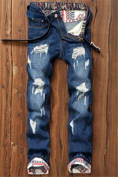 $23.92 Star Print Hemming Design Distressed Zipper Fly Straight Leg Jeans
