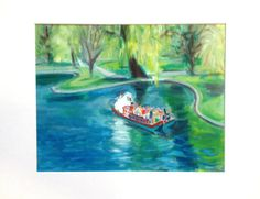 """""""Swan Boats"""" Matted unframed print 11""""x 14"""" in mat 10% of sales go to the One Fund"""