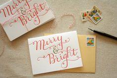 Merry & Bright Letterpress Christmas Card
