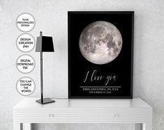 Trendy Printable Art / Designer Wall Decor / Art by PrintsPhotoTK 2 Year Anniversary Gifts For Him, Boyfriend Anniversary Gifts, Boyfriend Gifts, Map Wall Art, Map Art, Wall Art Decor, Moon Map, Printable Art, Printables