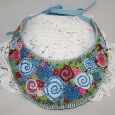 Embroidered Bib Necklace - Blue Roses