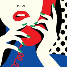 Malika Favre / woman on telephobe pop art illustration Art And Illustration, Portrait Illustration, Illustrations And Posters, Graphic Design Illustration, Graphic Art, Illustration Fashion, Fashion Illustrations, Malika Fabre, Motif Art Deco