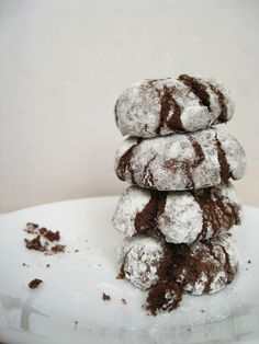 Chocolate Crinkle Cookies Stuffed with Andes Mints