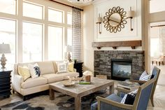 Looking for White Rustic Living Space and Living Room ideas? Browse White Rustic Living Space and Living Room images for decor, layout, furniture, and storage inspiration from HGTV. Chic Living Room, Living Room With Fireplace, Living Room Modern, Living Room Sofa, Interior Design Living Room, Living Room Decor, Interior Designing, Living Spaces, Transitional Fireplaces