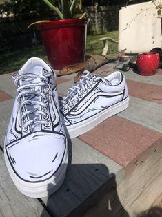 Custom Vans Shoes, Custom Painted Shoes, Custom Sneakers, Custom Slip On Vans, Vans Classic Old Skool, Vans Old Skool, Vans Customisées, Vans Men, Zapatillas Nike Air Force