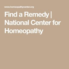 Find a Remedy | National Center for Homeopathy